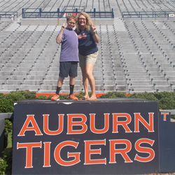 children on auburn football field