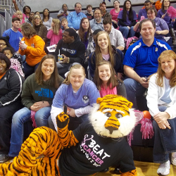 group at women's basketball game