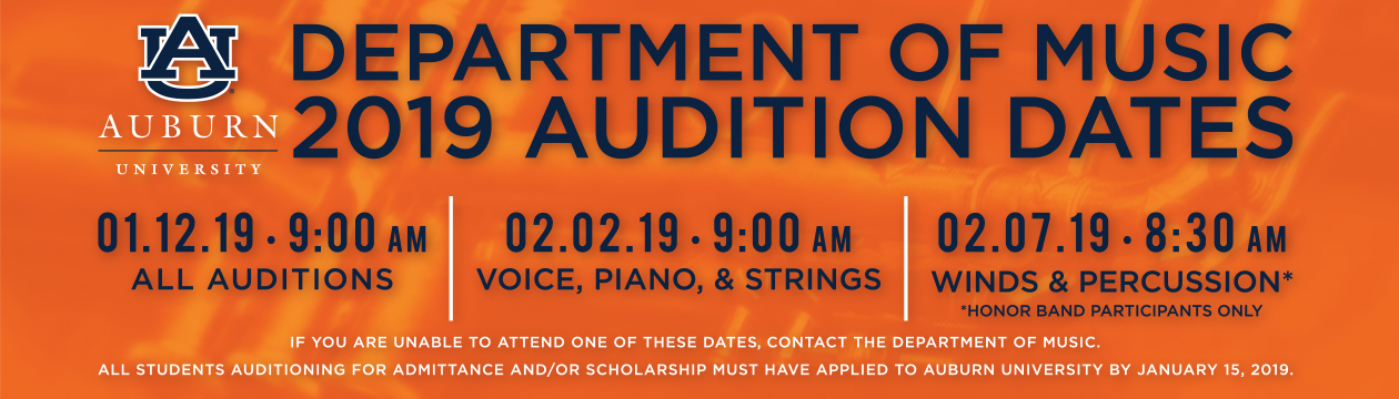 Department of Music 2019 Audition Dates