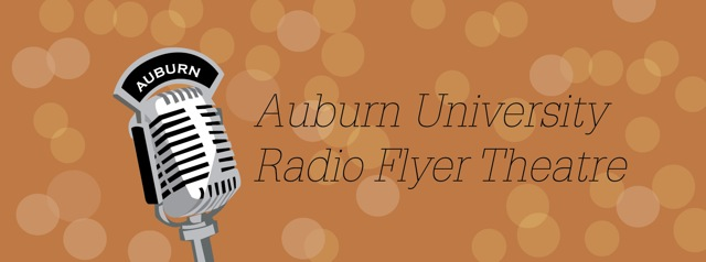 AU Radio Flyer Theatre logo with old microphone