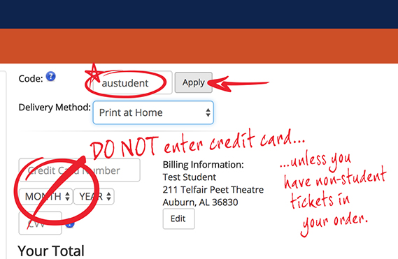 Screen for entry of student code and credit card info-call (334) 844-4748 for assistance